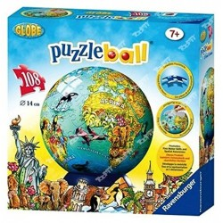 RAVENSBURGER - Puzzle ball 108pcs Carte du monde 12212