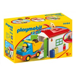 PLAYMOBIL - OUVRIER + CAMION +GARAGE 1.2.3