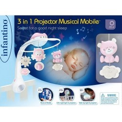 INFANTINO - 3 IN 1 PROJECTOR MUSICAL MOBIL PINK