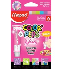 GOUACHE DE 6 COULEURS FLUO 15ML MAPED