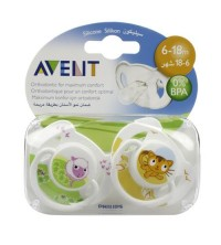 2 SUCETTES ANIMAL SILICONE 6-18M SANS BPA