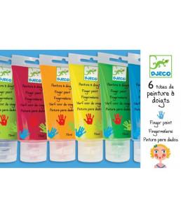 DJECO - 6 tubes de peinture à doigts
