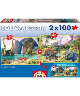 EDUCA - PUZZLE 2*100 PIÈCES LES DINOSAURES 15620